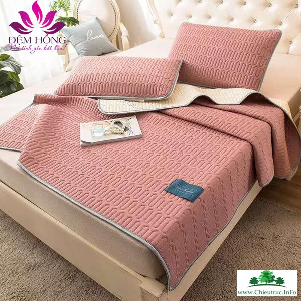 Mẫu chiếu thảm Tencel màu hồng sen sang trọng - mẫu 2020