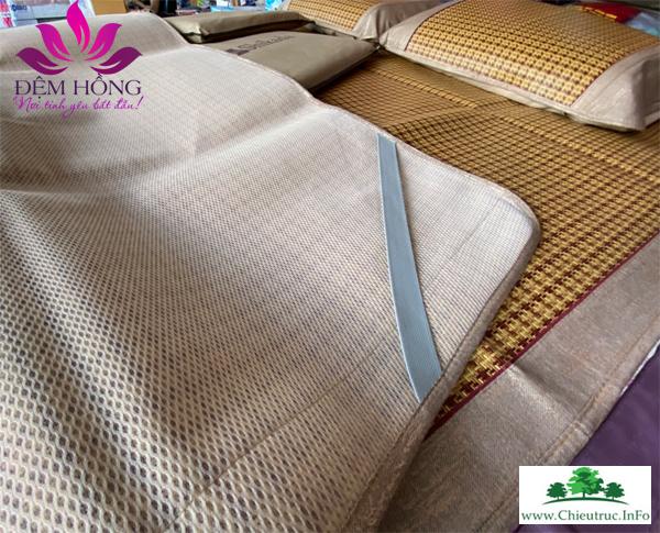 Mẫu chiếu Shikada chất liệu mây tự nhiên - Viền vải cotton thô chắc chắn bản to